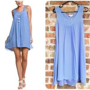 Annie Griffin Silk Chiffon Jana Dress Blue Small